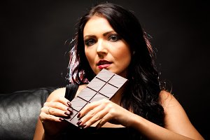 Young Woman Enjoying Chocolate