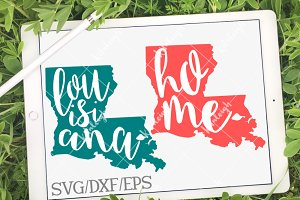 Louisiana Home Name DXF, SVG, EPS