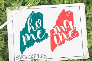Maine Home Name DXF, SVG, EPS