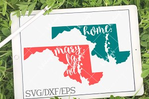 Maryland Home Name DXF, SVG, EPS