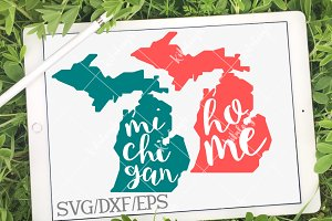 Michigan Home Name DXF, SVG, EPS