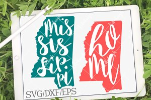 Mississippi Home Name DXF, SVG, EPS