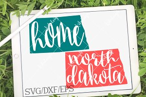 North Dakota Home Name DXF, SVG, EPS
