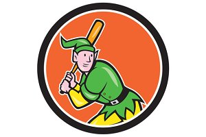 Elf Baseball Player Batting Circle C
