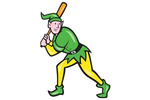 Elf Baseball Player Batting Isolated