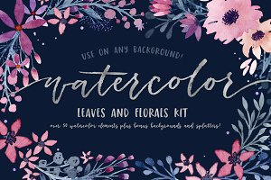 Watercolor Leaves and Florals Kit