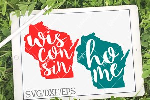 Wisconsin Home Name- DXF, SVG, EPS