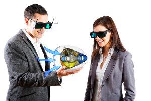 Engineers Wearing 3d Vr Glasses