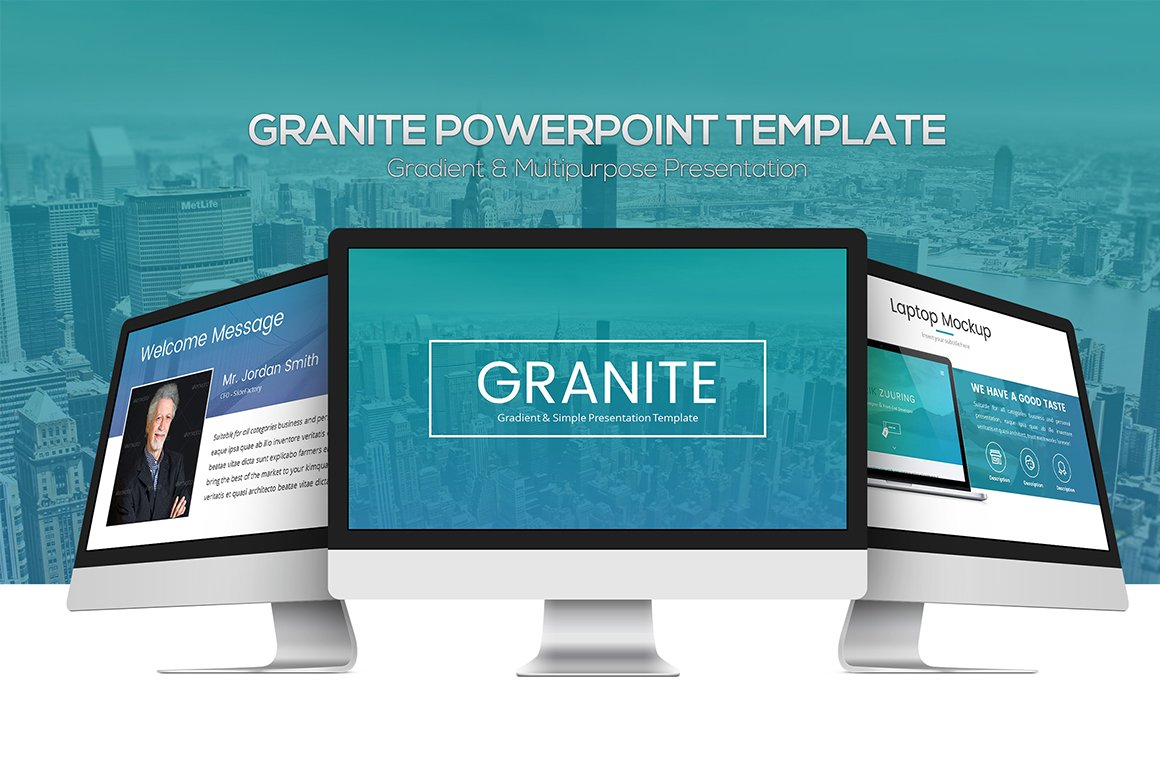 granite powerpoint template presentation templates creative market. Black Bedroom Furniture Sets. Home Design Ideas
