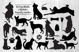 Cat and Dog Pet Silhouettes