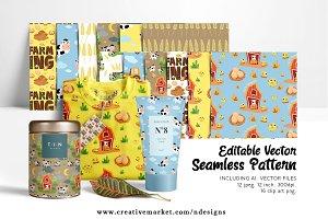 Farm Seamless Pattern + Clipart + Ai