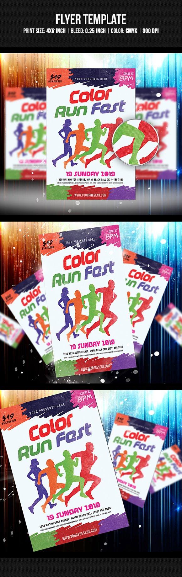 color run fest flyer flyer templates creative market