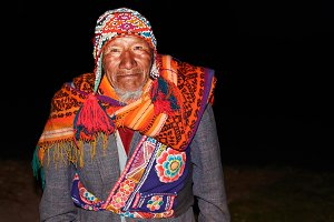 Old native peruvian man