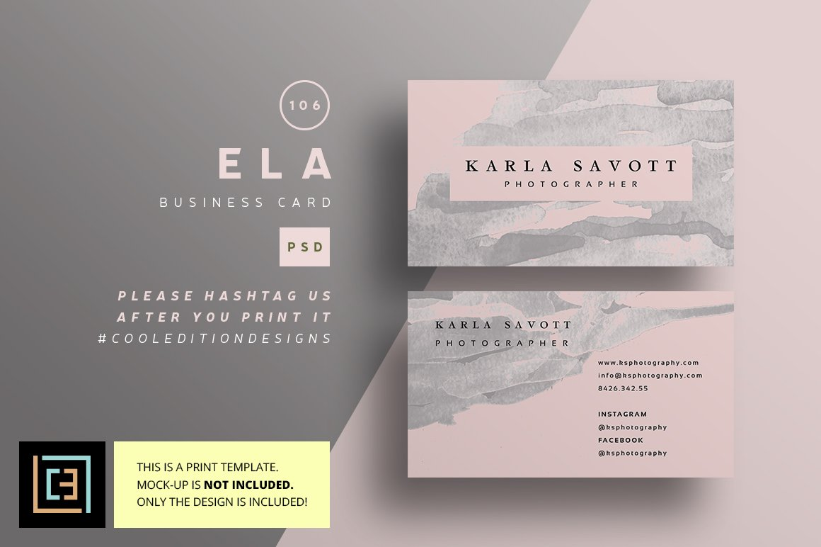 Ela - Business Card 106 ~ Business Card Templates ~ Creative Market
