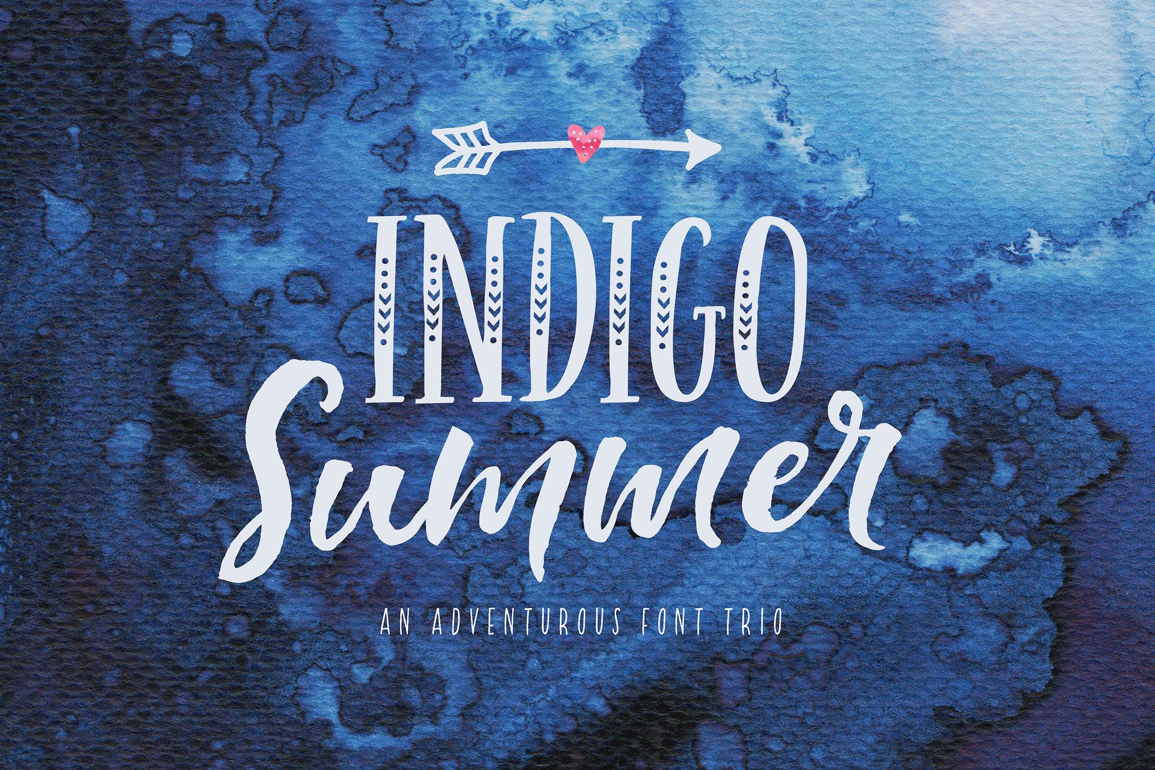 Indigo Summer Font Trio ~ Display Fonts ~ Creative Market