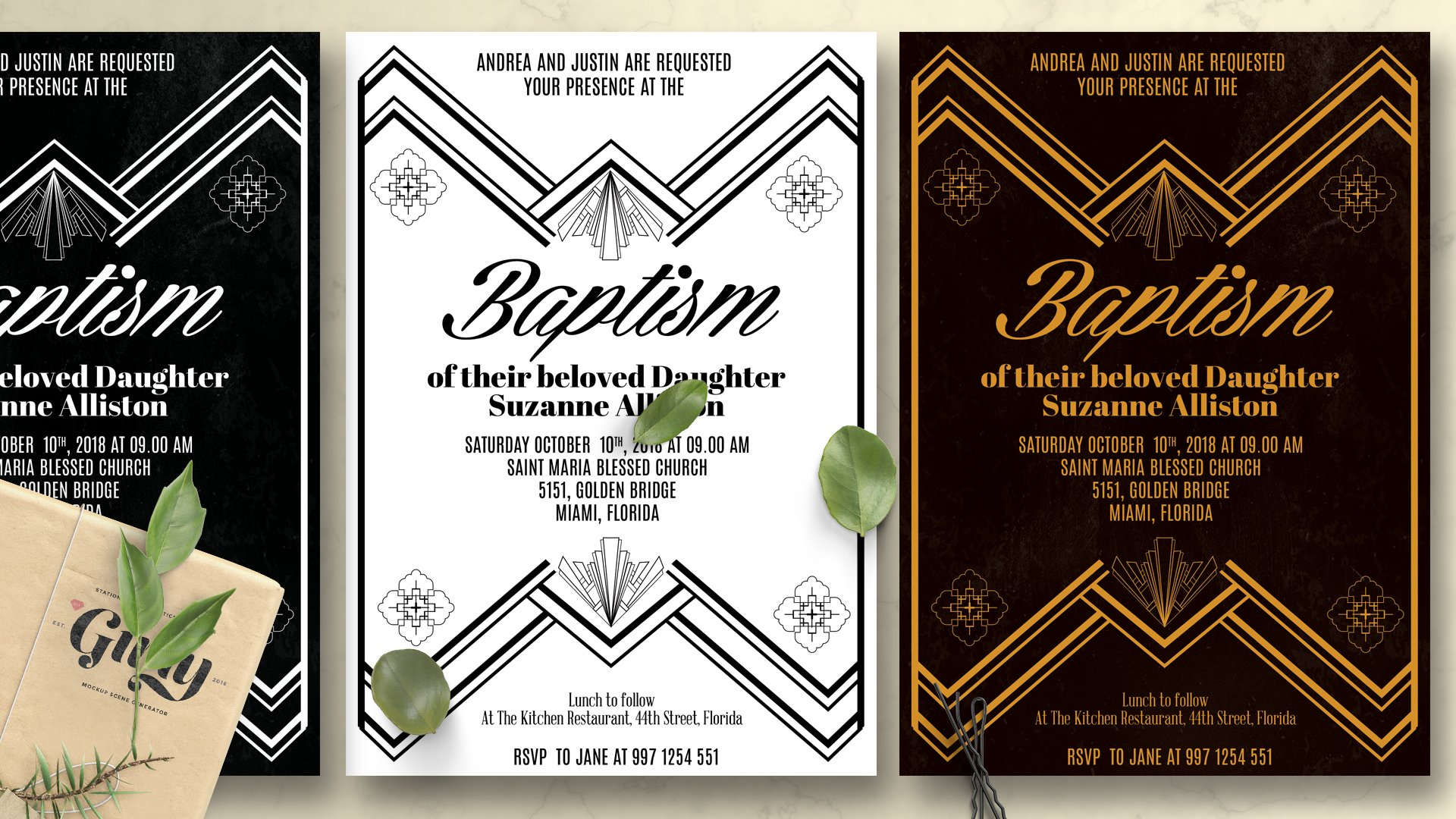 Art Deco Baptism Invitation | Creative Card Templates ~ Creative ...