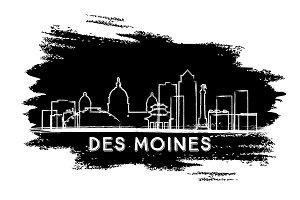Des Moines Skyline Silhouette.