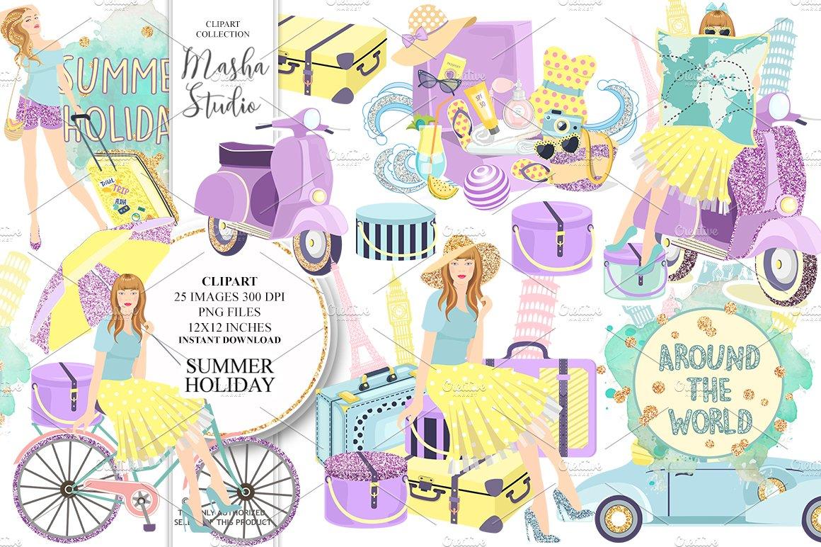 SUMMER HOLIDAY clipart ~ Illustrations ~ Creative Market