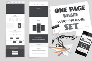 One Page Website Wireframe Kit. #3