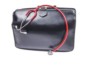 Medical bag with small stethoscope