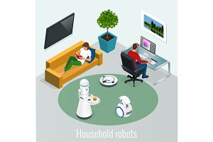 Isometric robots housework and technology concept