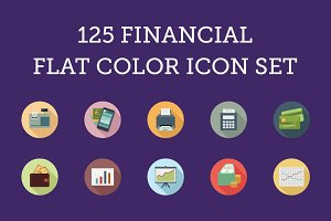 125 Financial Flat Color Icon Set