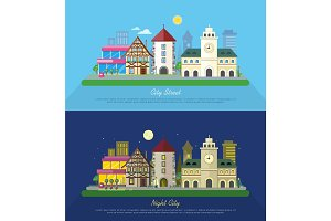 City Street Vector Illustration at Day and Night