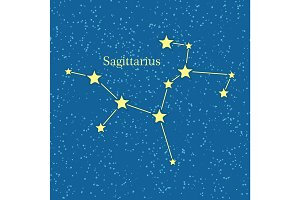 Night Sky with Sagittarius Constellation Vector