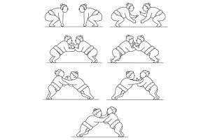 Rikishi Sumo Wrestlers Wrestling