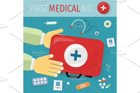 First Medical Aid Kit And Its Content Equipment