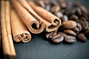 Coffee beans with cinnamon sticks
