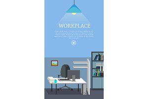 Workplace Concept Vector Web Banner in Flat Design