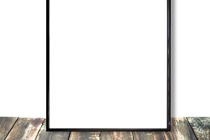 Photoframe, white wall with wooden floor