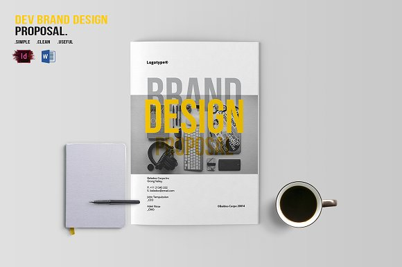 dev brand design proposal template stationery templates creative market