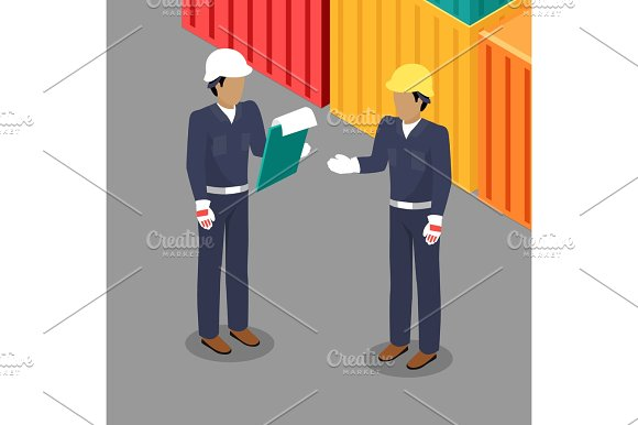 Cargo Worker And Foreman Talking In Warehouse