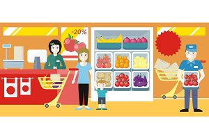 Shopping in Grocery Store Concept Illustration.