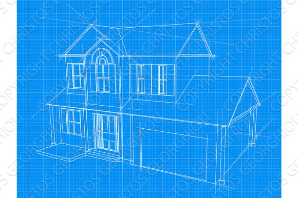 House blueprint illustrations creative market house blueprint illustrations malvernweather Choice Image