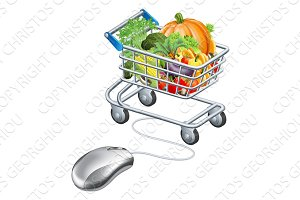 Trolley mouse grocery vegetables concept