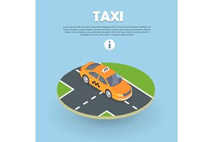 Taxi on Part of Road Isometric Web Banner. Vector