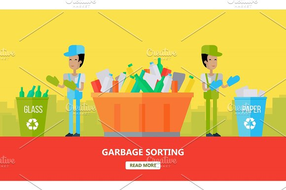 Garbage Sorting Banner Men Sort Glass And Paper
