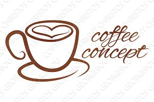 Coffe Cup Heart Love Concept