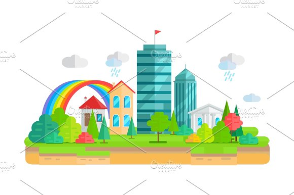 City Landscape In Flat