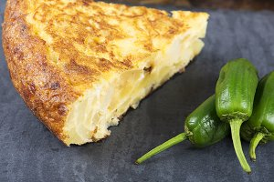 Omelette with potatoes and peppers. Spanish