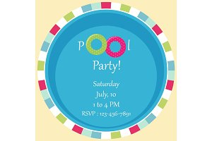 Pool party invitation as two rubber rings in a pool