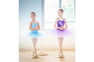 The two little ballet girls in tutu
