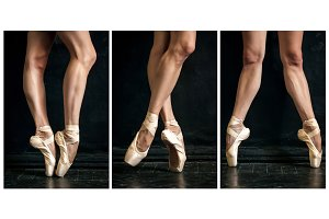 Collage of classic ballerina's legs in pointes on wooden floor