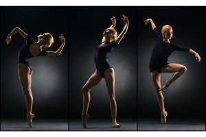 The young beautiful ballerina dancing on a black background. Collage