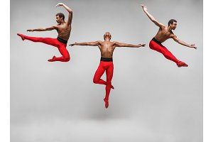 The collage from images of young and stylish modern ballet dancer