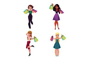 Happy black and Caucasian women with shopping bags, holiday sale