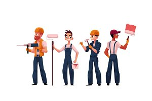Team of construction workers, builders, painters wearing helmets and overalls